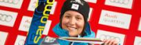 Marielle Berger Sabbatel sur le podium de la Coupe du Monde de Skicross